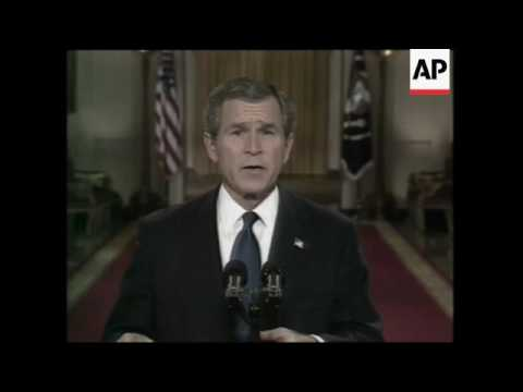 George W. Bush Making His Speech About Saddam Hussein