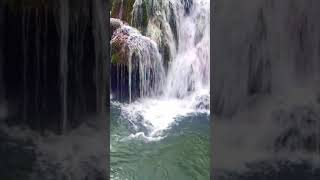 Calming Turquoise Mountain River and Waterfall. Relaxing Nature Sounds.