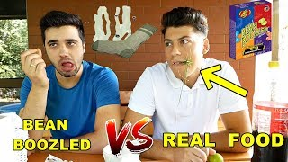 JELLY BEAN BOZZLED vs. REAL FOOD !! (CHALLENGE ABSOLUT ORIBIL)