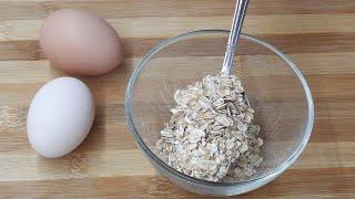 Быстрый завтрак 2 яйца и 2 столовой ложки овсянки. Здоровая еда.