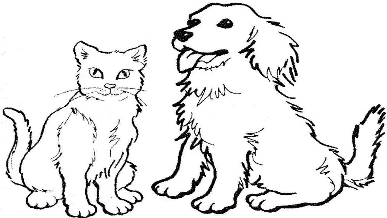 Coloring Pages-How To Draw A Cat And Dog Easy