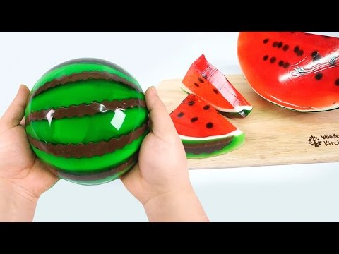 Thumbnail: HOW TO MAKE A JELLO WATERMELON !! Diy Gummy Jello Watermelon Slices - Pudding Jelly Monsterkids