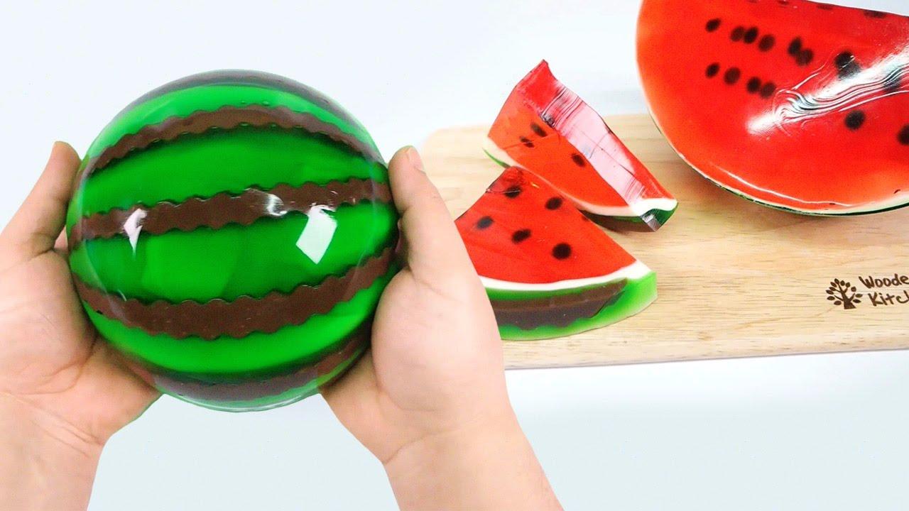 HOW TO MAKE A JELLO WATERMELON !! Diy Gummy Jello Watermelon Slices ...