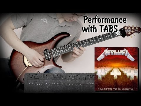 Metallica - Master Of Puppets (guitar performance with tabs) how to play with solo AMT P2