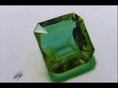 Dibujo de una Esmeralda (time-lapse) HD  Drawing an emerald HD