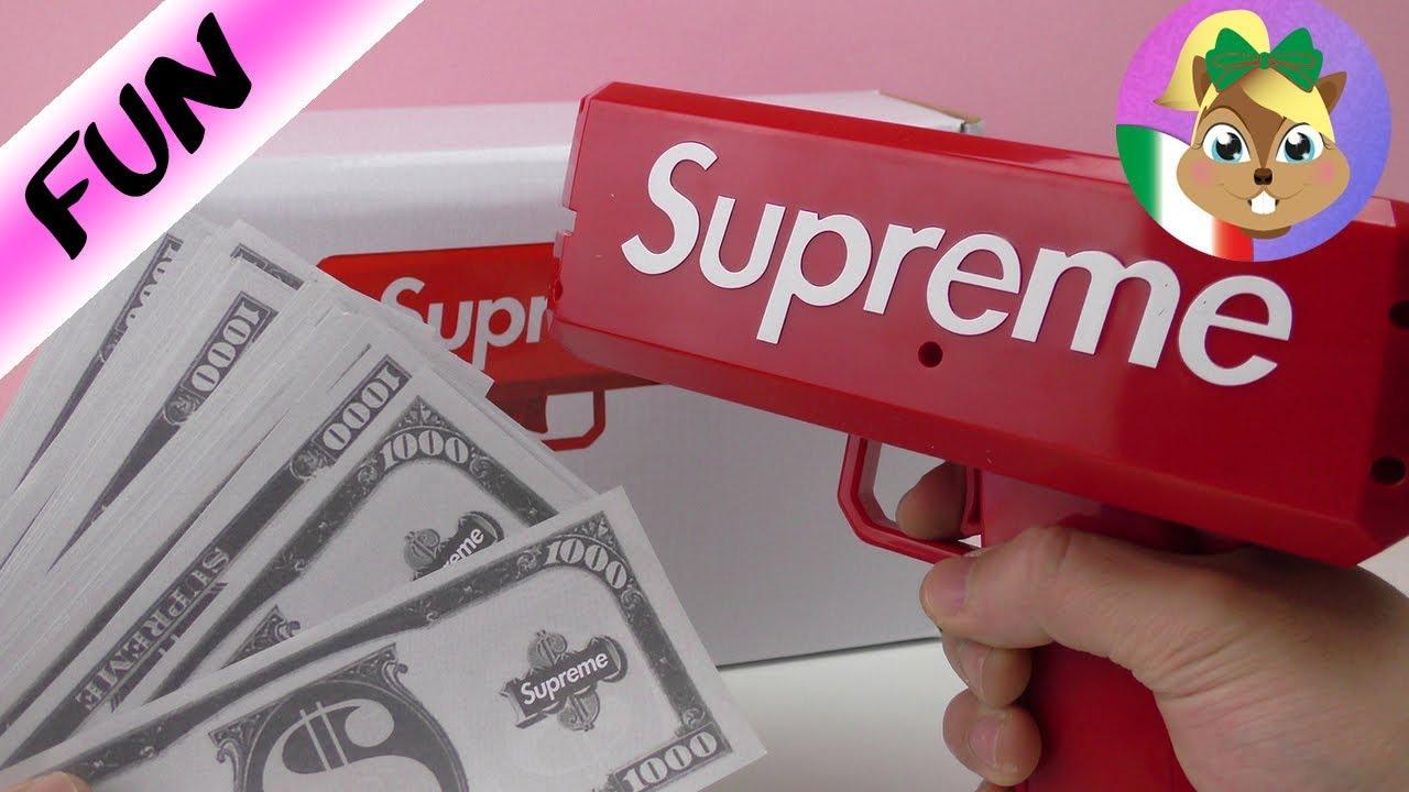Supreme Money Gun Italiano Divertente Pistola Spara Soldi Giocattolo Guru Youtube