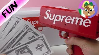 supreme money gun italiano - divertente pistola spara soldi giocattolo - guru