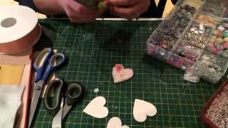 Pretty embellished mini wooden heart