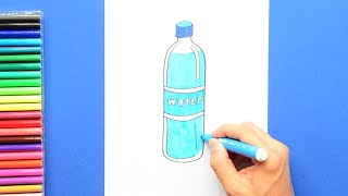 How to draw and color a Water Bottle