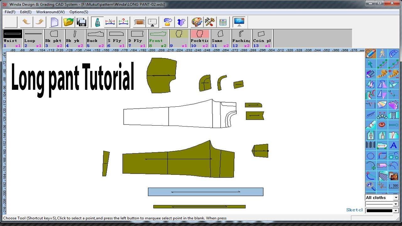 Winda cad for pattern design   Pant Pattern Tutorial   How to make Pant Pattern   Winda Software #1