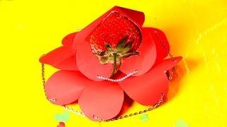 Супер валентинка корзинка, Валентинка 3d оригами