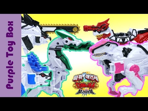 Thumbnail: Green And Pink Dinosaur Transformer And Combination Robot Toys, Power Ranger Dino Force Brave Toys