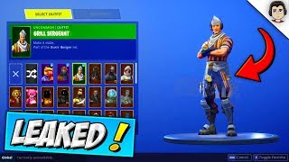 "*NEW* DURR BURGER WORKER SKIN ""Grill Sergeant"" In Fortnite! + ALL LEAKED EMOTES & DANCES! #SoaRRC"