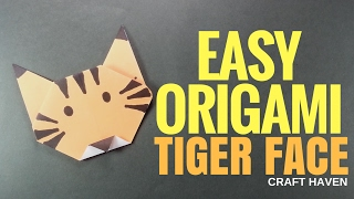 Easy Origami Tiger Face - How-To Paper Origami Tutorial for Beginners - Tiger Origami for Kids