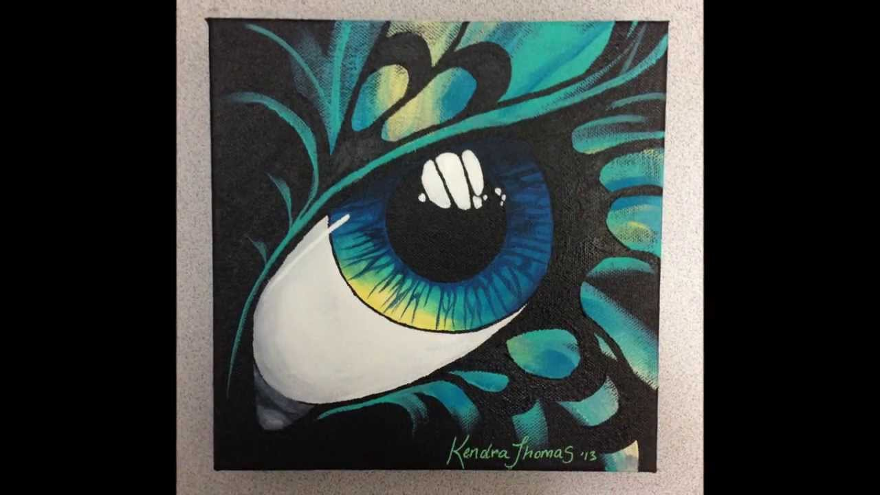 Acrylic painting artwork abstract butterfly eye by for Abstract painting on black canvas