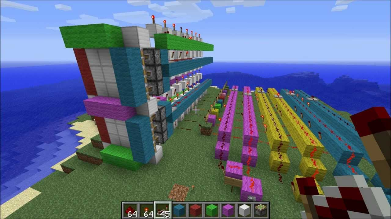 Minecraft Tutorial 7 Segment Display To Binary Decoder Youtube