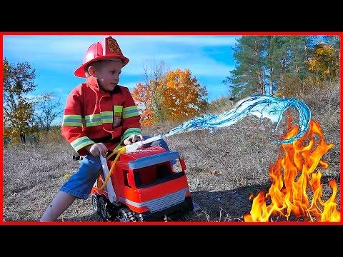 БОЛЬШАЯ ПОЖАРНАЯ МАШИНА и Пожарный Даник - Машинка для игр в пожарных на улице