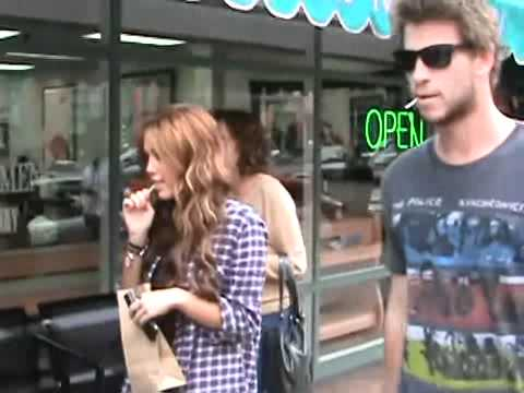 Miley Cyrus walking in Beverly Hills with her boyfriend thumbnail