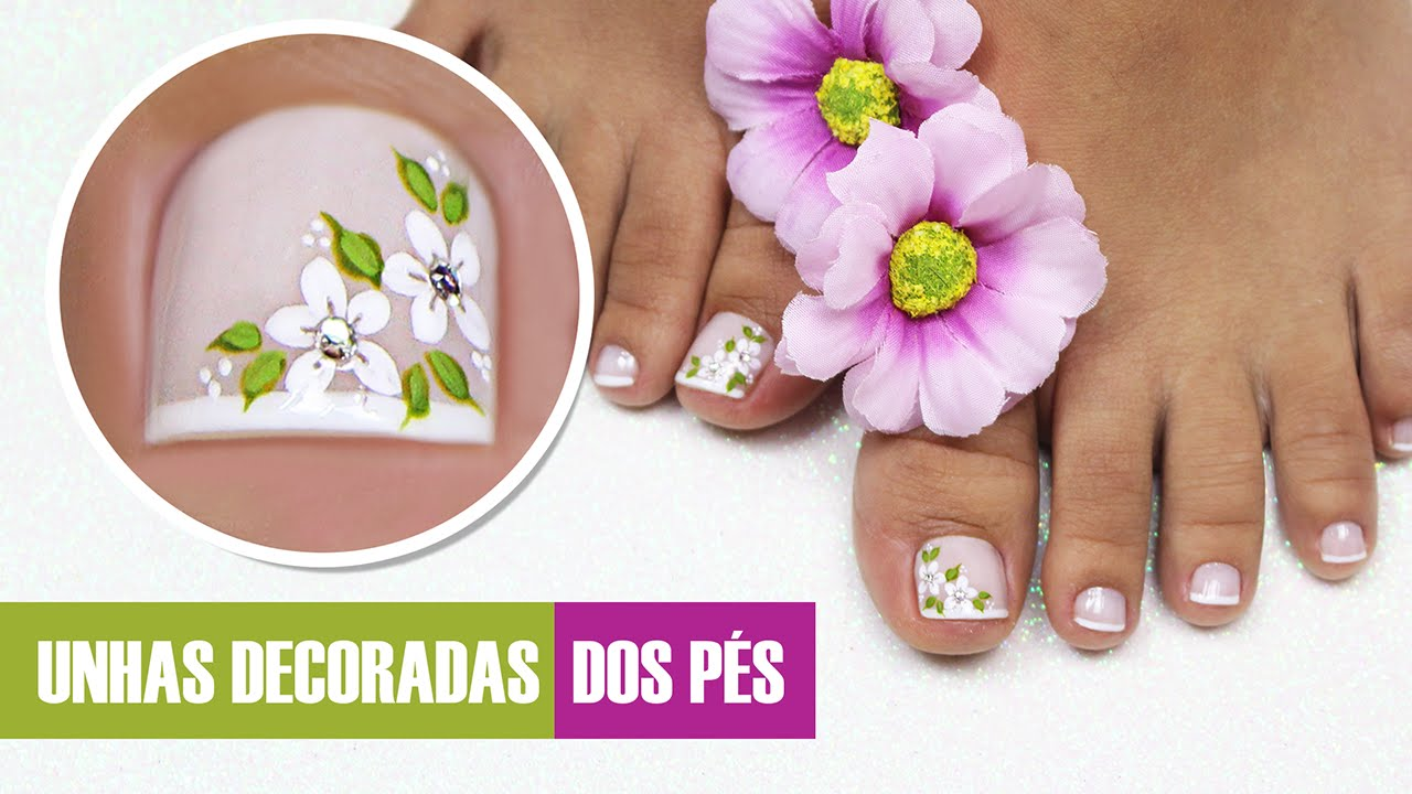 Unhas Do Pe Decoradas Com Flores Cola Na Villar Youtube