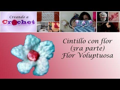 Cintillo con flor  (3ra parte) -Flor Voluptuosa -Tutorial de tejido crochet