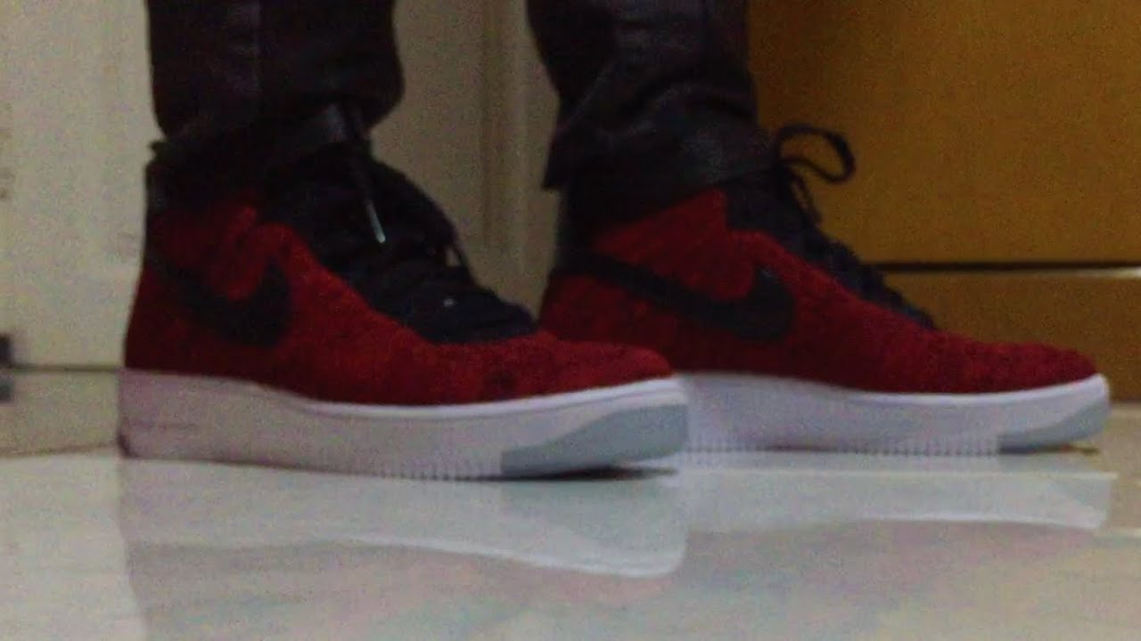new concept fcff3 62df7 Nike Air Force 1 Ultra Flyknit Unboxing  On-Feet (University Red)