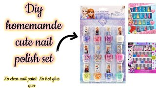 Diy Homemade cute nąil polish set/how to make cute nail polish set without clear nail paint/diyset