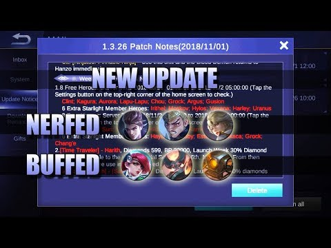 NEW UPDATE - CLAUDE, KIMMY, GATOTKACA - PATCH NOTES MOBILE LEGENDS