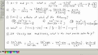 Accuplacer Math Placement test 2 (Algebra section) Part 1