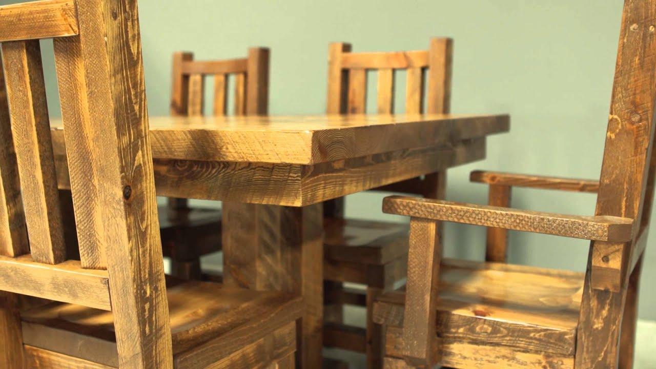Barnwood Chairs - Viking Log Furniture - YouTube