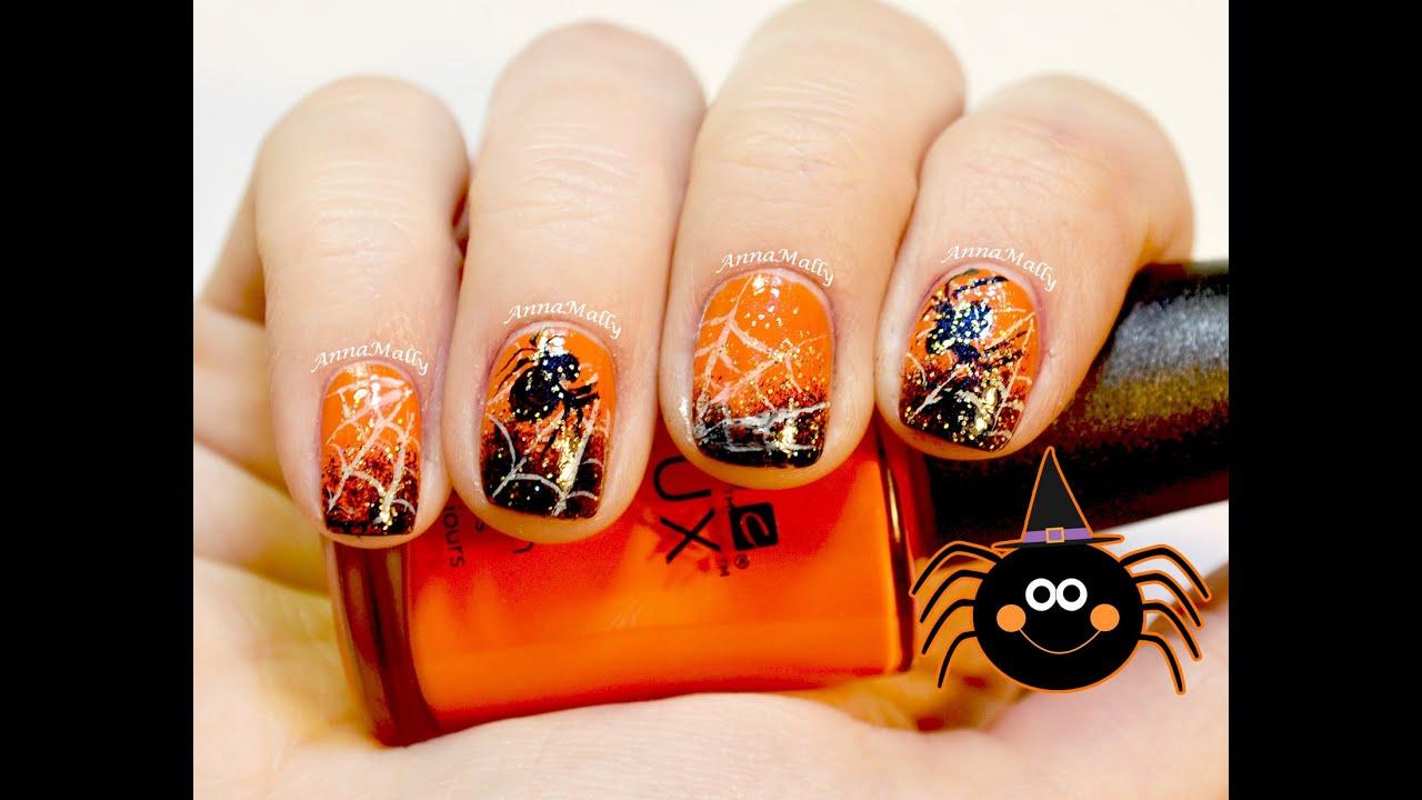 Halloween Nails: Spider Web Nail Art Tutorial - YouTube