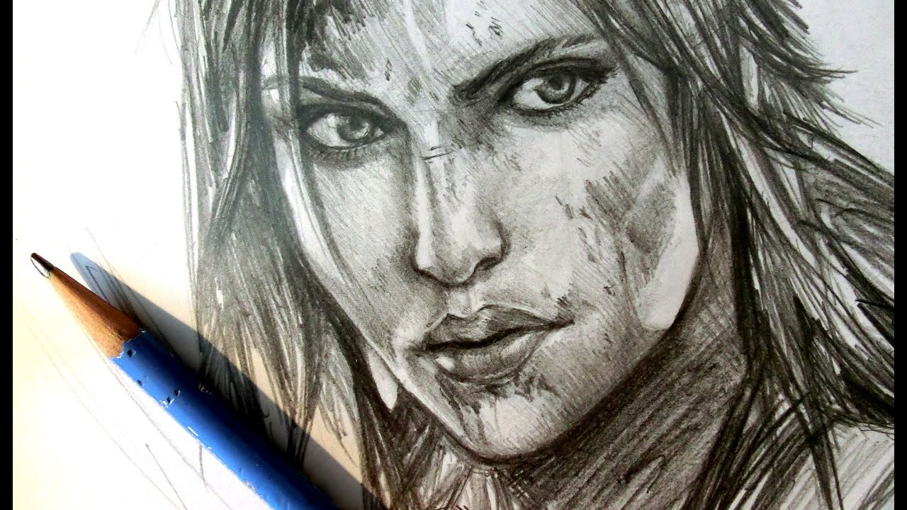 Asmr pencil drawing 15 lara croft request