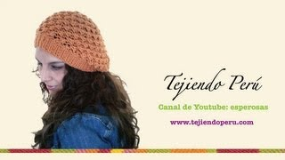Repeat youtube video Boina floja o caida en dos agujas (Slouchy knit beret) Parte 1