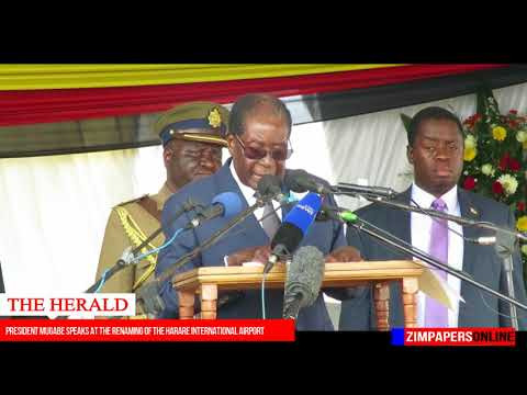 President Mugabe speaks at the renaming of the Harare International airport