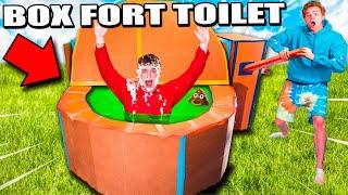 Real Life Box Fort Toilet Challenge DON'T GET FLUSHED! Gross Slime Food & More