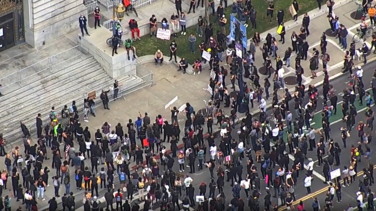 Protesters gather at UN Plaza in San Francisco for George Floyd