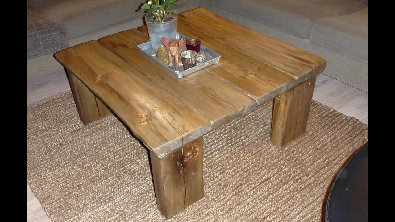 Coffee table from reclaimed wood youtube for Coffee table made out of wooden crates