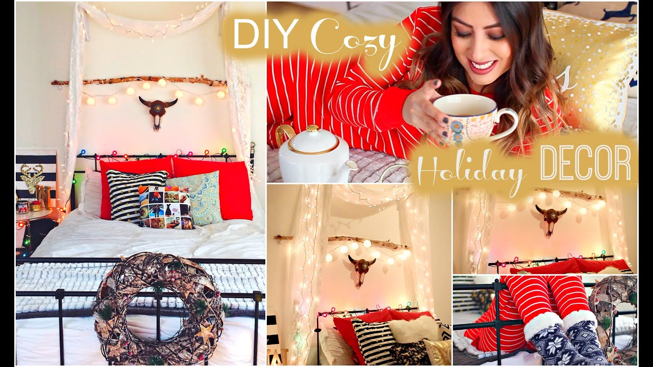 DIY Cozy Holiday Room Decor: Tumblr U0026 Christmas   YouTube