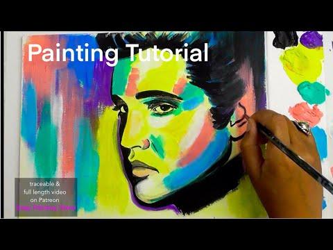Acrylic Painting Tutorial ELVIS PRESLEY POP ART thumbnail