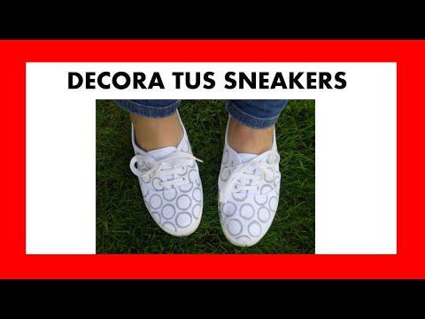 Decorar unas zapatillas con pintura textil y un dedal ...