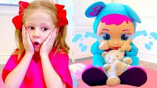 Nastya recebeu uma enorme boneca de presente