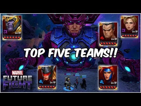 TOP FIVE BEST TEAMS TO CLEAR GALACTUS BOSS RAID!!  - Marvel Future Fight