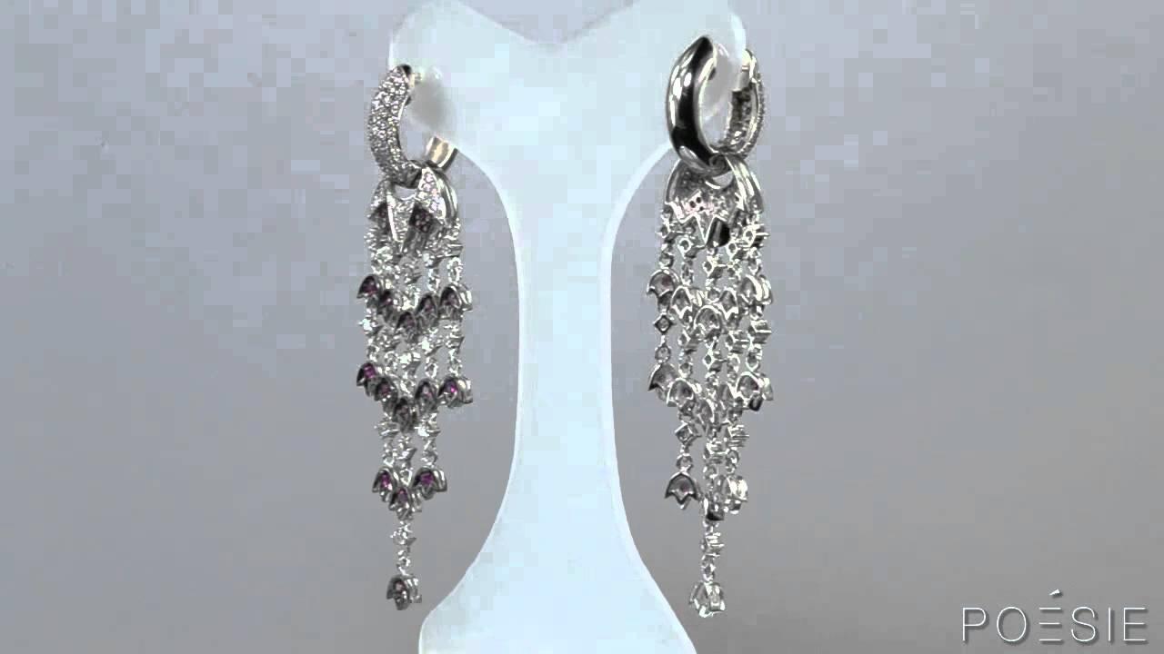 Poésie - Brinco Cascata (Ouro 18K, Diamantes, Rubis). Poésie Joias 73eda328a3