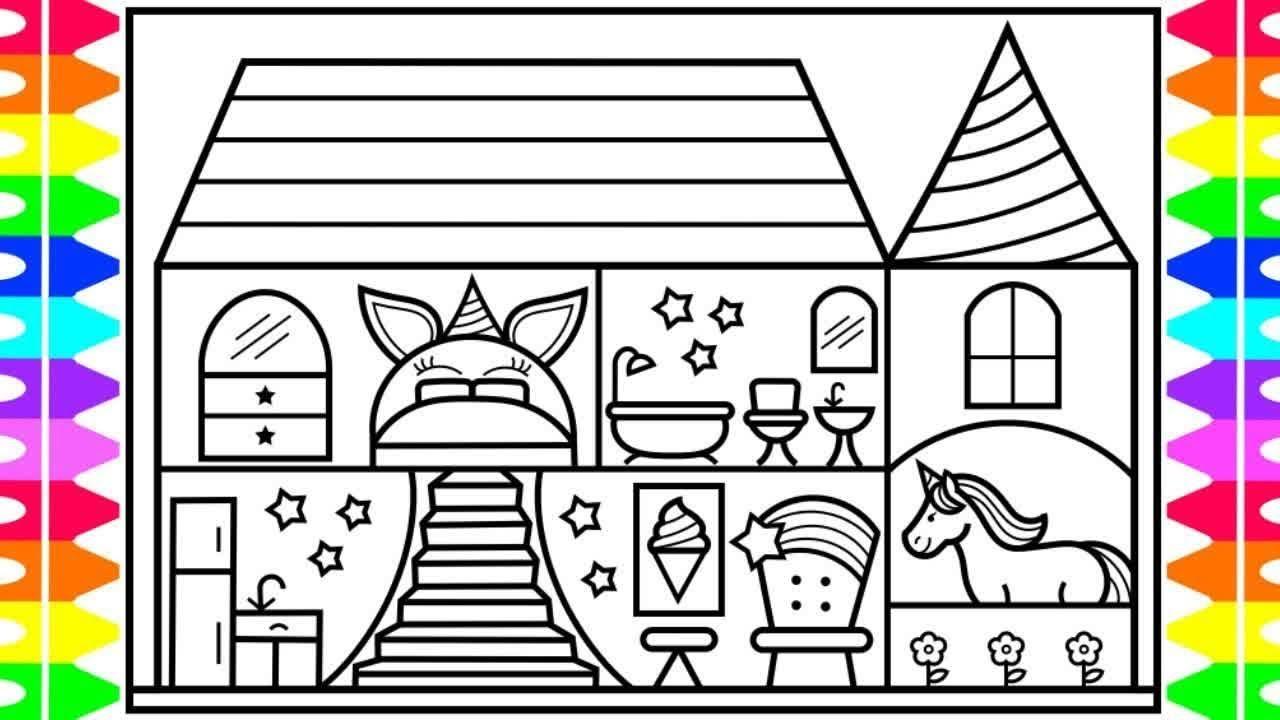 Bagaimana Untuk Menarik Unicorn Rumah Untuk Anak Anak Unicorn Rumah Lukisan Dan Mewarnai Youtube