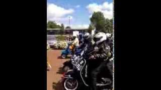Cleethorpes amazing Mods 2013 scooters leaving attempt humberbridge record
