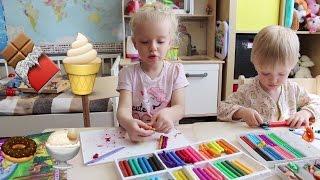 Шоколадное мороженое Лепим из пластилина с детьми шоколадное мороженое Видео для детей Liza Kittycat