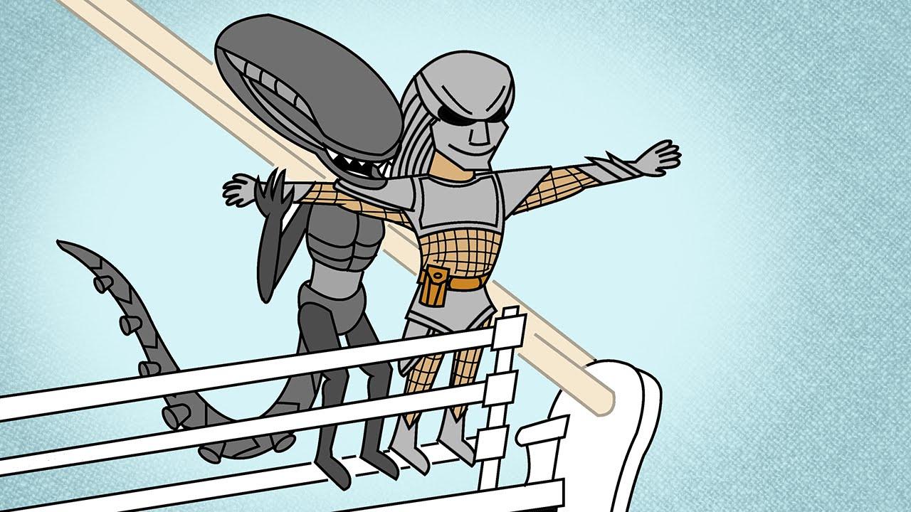 Funny Alien Vs Predator Cartoon