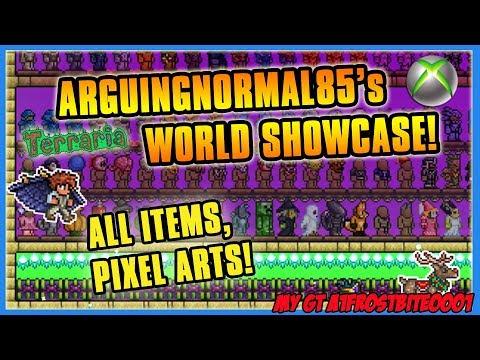 Terraria Xbox One World Showcase - ArguingNormal85's All Item Map + Cool Buildings!