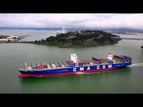 CMA CGM Benjamin Franklin - Port of Oakland Departure - An Aerial View