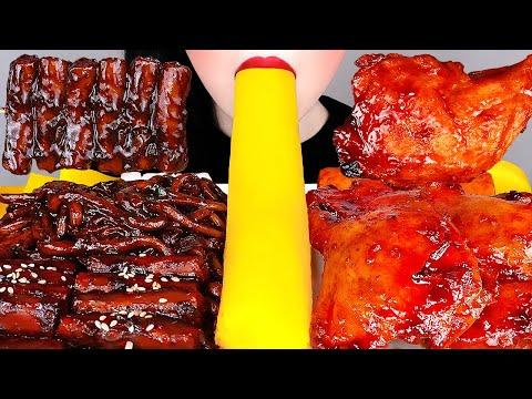 ASMR BLACK BEAN NOODLES, CHICKEN 짜장떡볶이 레시피, 양념치킨, 통단무지 먹방 TTEOKBOKKI RECIPE COOKING & EATING MUKBANG