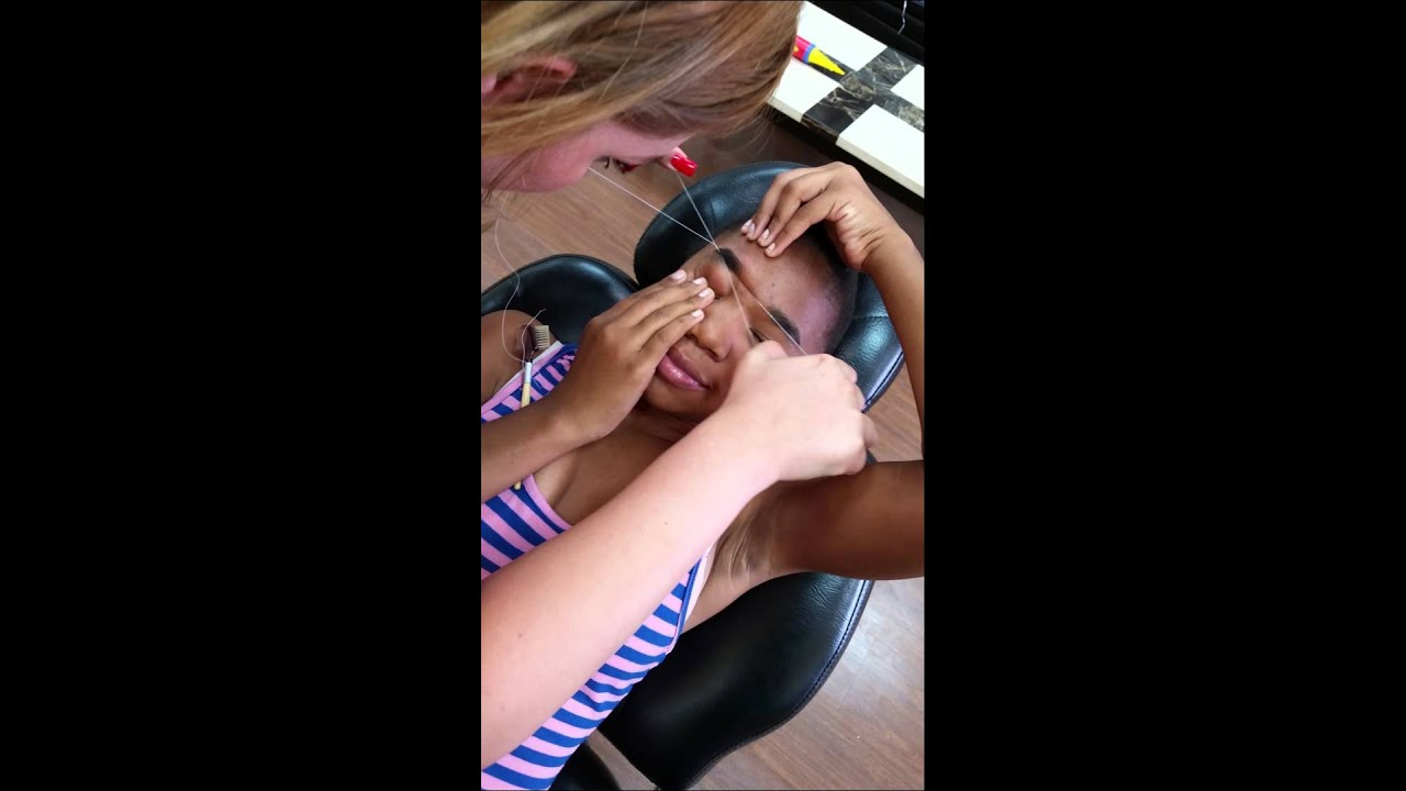 First Time Eyebrow Threading Painful Youtube